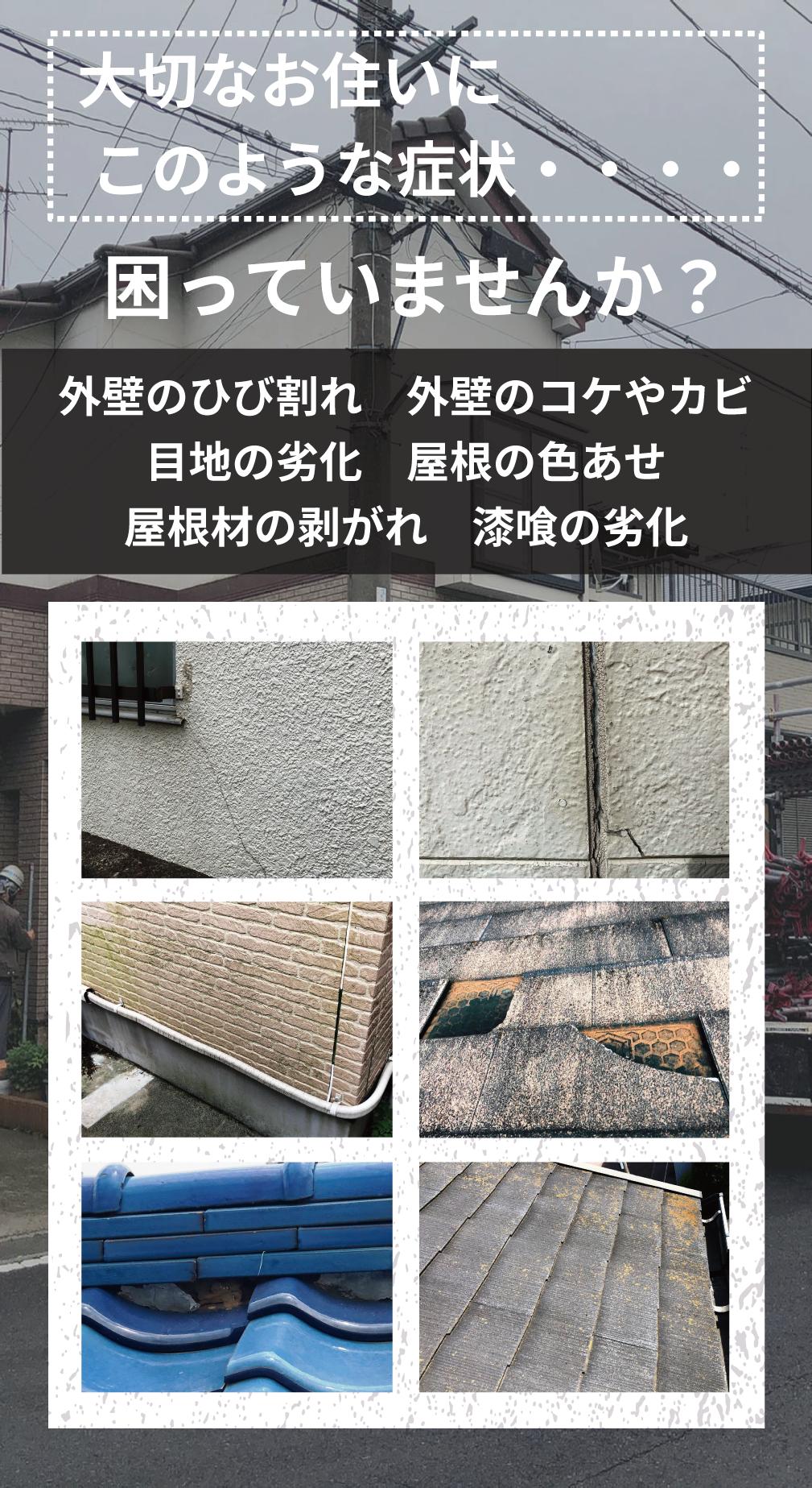 外壁のひび割れ 外壁のコケやカビ 目地の劣化 屋根の色あせ 屋根の修理 漆喰の補修